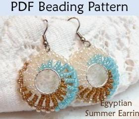 Beading Tutorial Pattern Earrings - Jewelry Making - Simple Bead Patterns - Egyptian Summer Earrings #1052