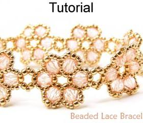 Beading Tutorial Pattern Bracelet - Beadweaving - Beaded Flowers Jewelry - Simple Bead Patterns - Beaded Lace #471