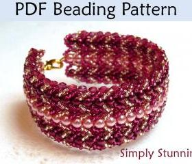 Beading Tutorial Pattern Bracelet - Flat Spiral Stitch Jewelry - Simple Bead Patterns - Simply Stunning #549