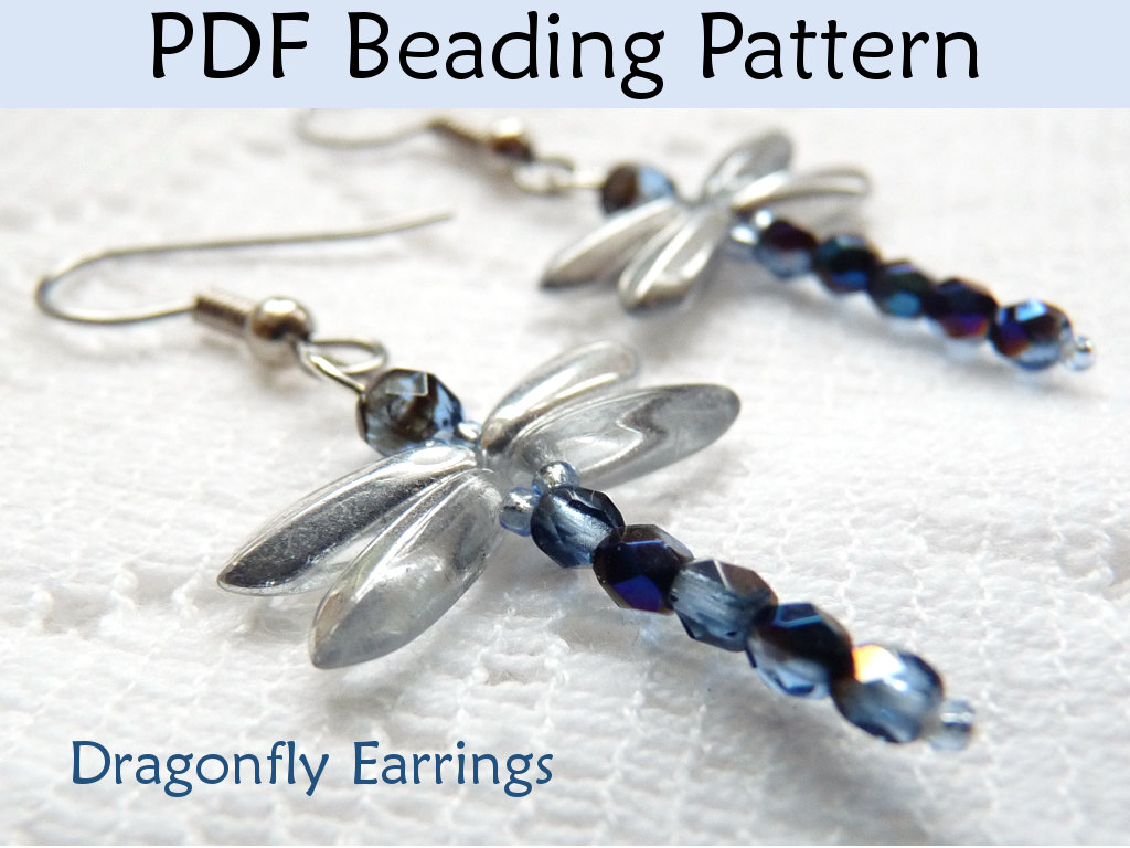 beading tutorial pattern earrings dragonfly jewelry