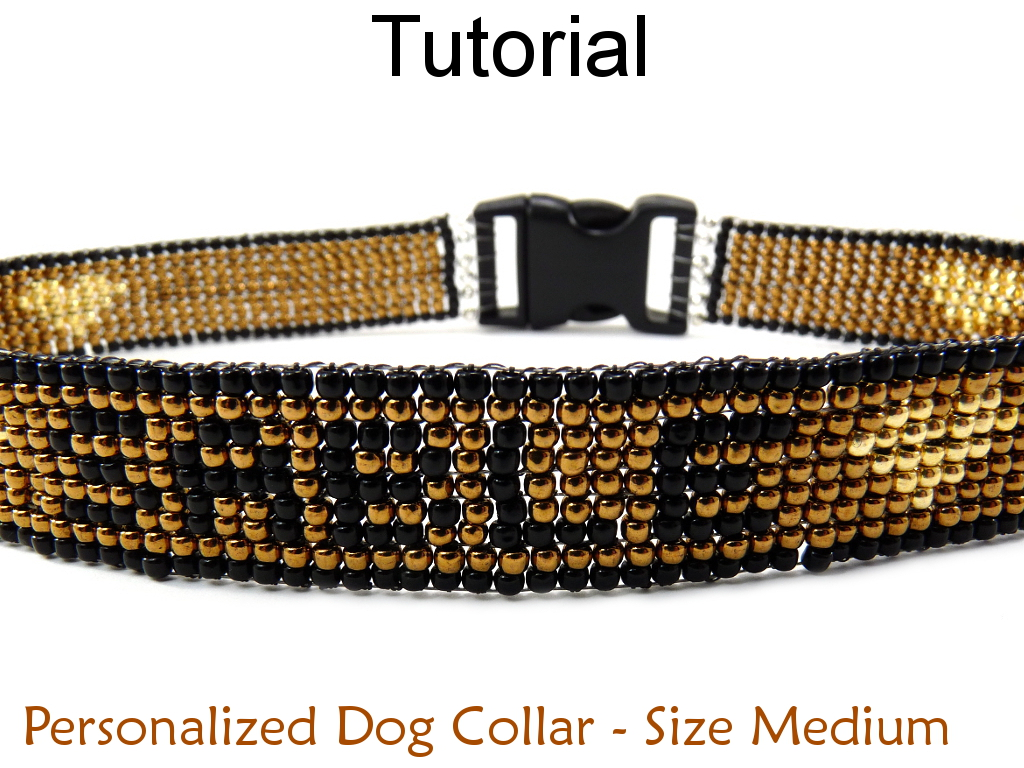 Beading Tutorial Pattern Dog Cat Collar - Beaded Pet Collar - Simple Bead Patterns - Personalized Medium Pet Collar #6534