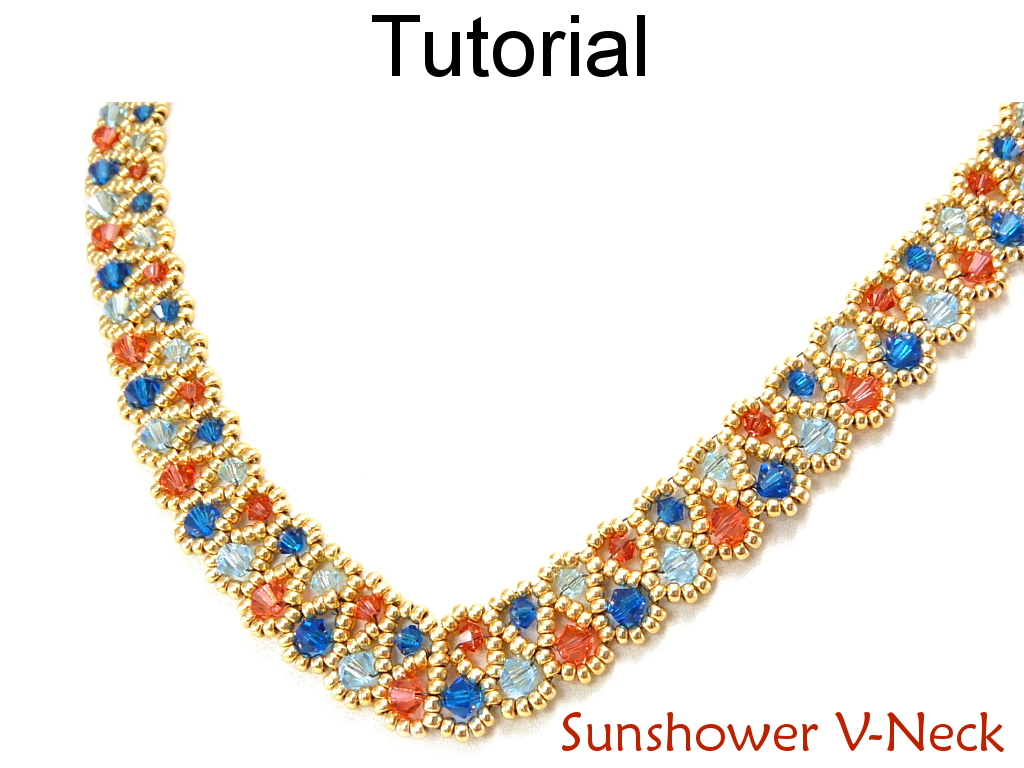 Beading Tutorial Pattern Necklace - Crystal Beadweaving Jewelry Making - Simple Bead Patterns - Sunshower V-Neck #11707