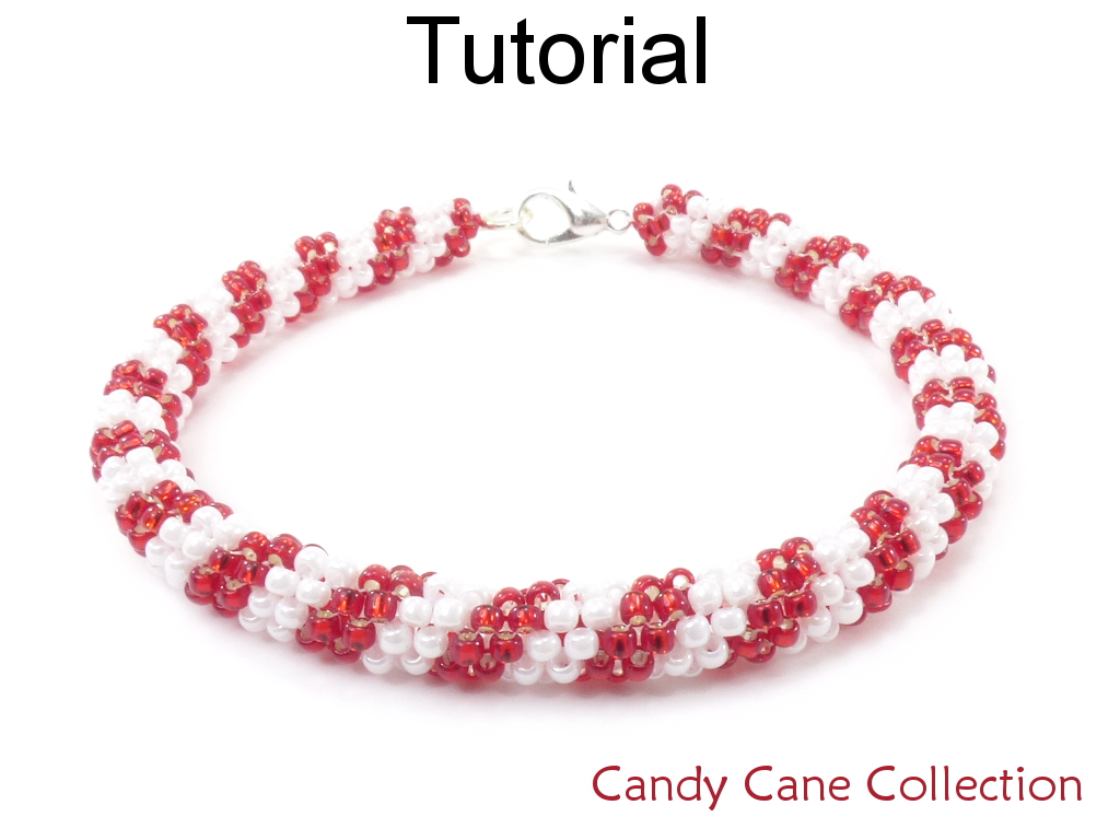 Beading Tutorial Pattern  Candy Cane Earrings Necklace Bracelet   Christmas Holiday  Simple Bead P On Luulla