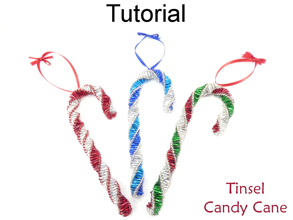 Beading Tutorial Pattern  Beaded Candy Cane Ornament  Christmas Holiday  Decoration  Simple Bead Patterns  Tinsel Candy Cane #16905