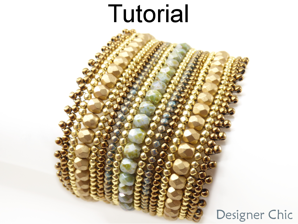 Beading Tutorial Pattern - Beaded Bracelet - Herringbone Stitch - Simple Bead Patterns - Designer Chic Bracelet #19143
