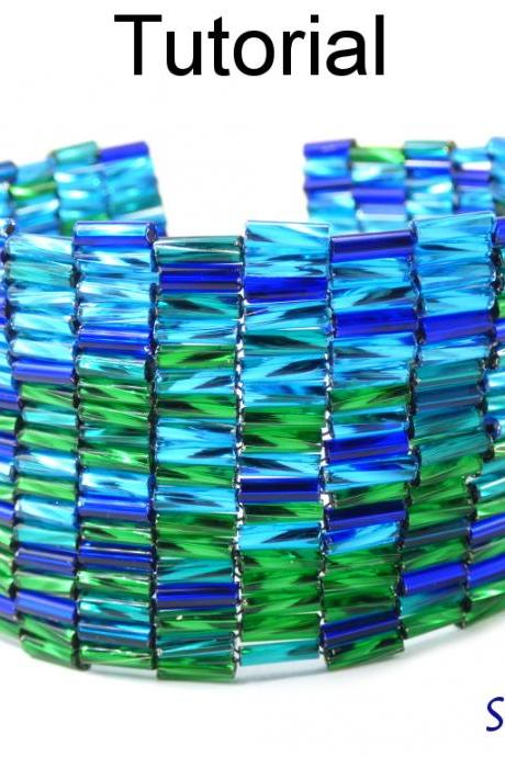 Beading Tutorial Pattern - Peyote Stitch - Bugle Bracelet - Simple Bead Patterns - Shimmering #18600