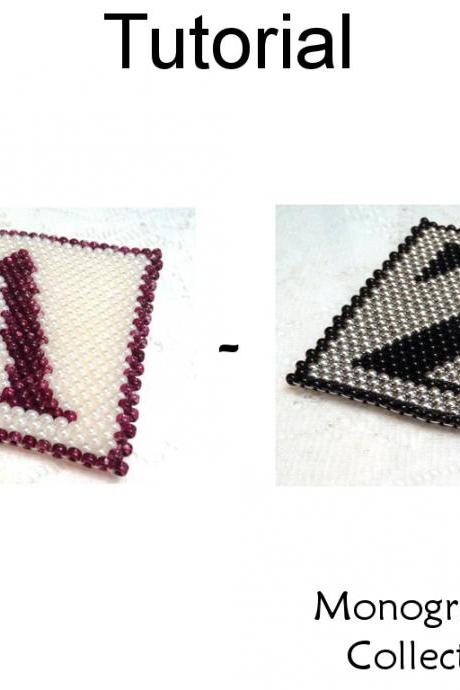 Beading Tutorial Pattern - Coaster Home Decor - Simple Bead Patterns - Monogram Coaster Collection A - Z #19041