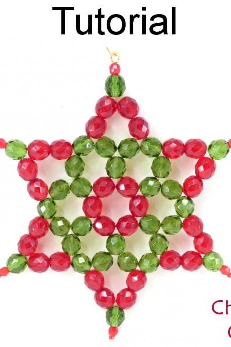 Beading Tutorial Pattern - Christmas Holiday Beaded Star - Downloadable - Simple Bead Patterns - Christmas Star Ornament #19933