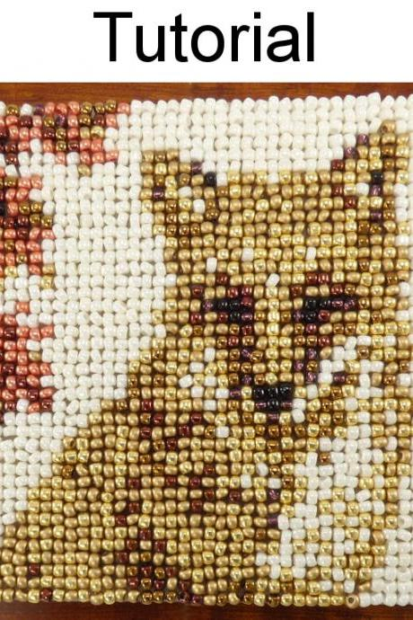 Beading Tutorial Pattern - Beaded Fox Coaster - Mosaic Beadpoint Home Decor - Simple Bead Patterns - Autumn Fox Coaster #20181