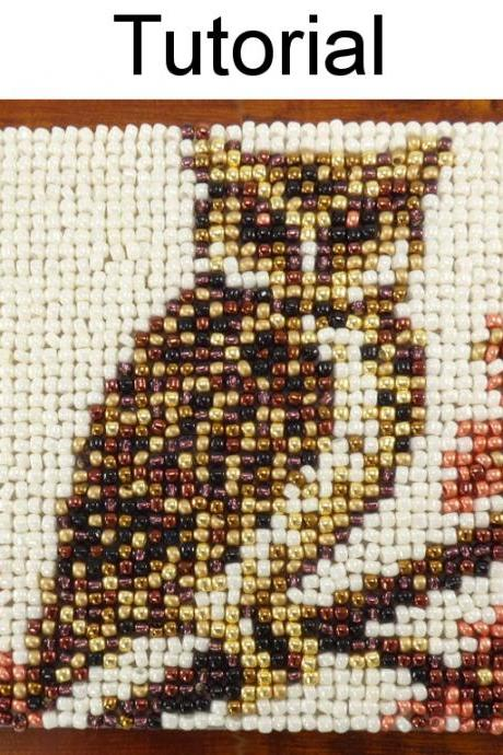 Beading Tutorial Pattern - Beaded Owl Coaster - Mosaic Beadpoint Home Decor - Simple Bead Patterns - Autumn Owl Coaster #20183