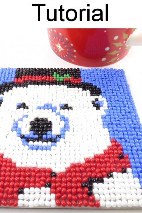 Beading Tutorial Pattern - Beaded Polar Bear Coaster - Christmas Holiday Mosaic Beadpoint - Simple Bead Patterns - Polar Bear Coaster #20314