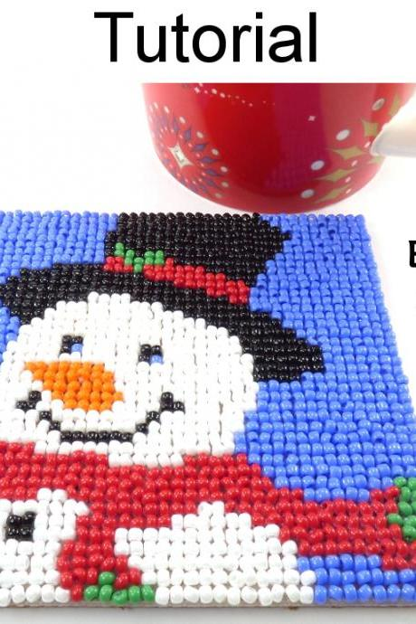 Beading Tutorial Pattern - Beaded Snowman Coaster - Christmas Holiday Mosaic Beadpoint - Simple Bead Patterns - Snowman Coaster #20316