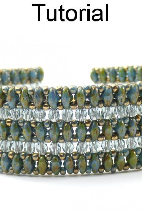 Beading Tutorial Pattern - SuperDuo Beaded Bracelet - Simple Bead Patterns - PDF - Laina #20409