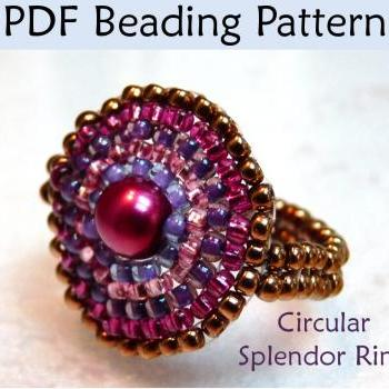 Beading Tutorial Pattern Beaded Ring - Circular Brick Stitch - Simple Bead Patterns - Circular Splendor #626
