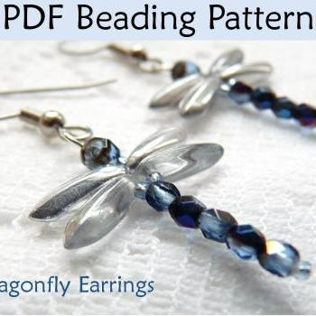 Beading Tutorial Pattern Earrings - Dragonfly Jewelry - Simple Bead Patterns - Dragonfly Earrings #371