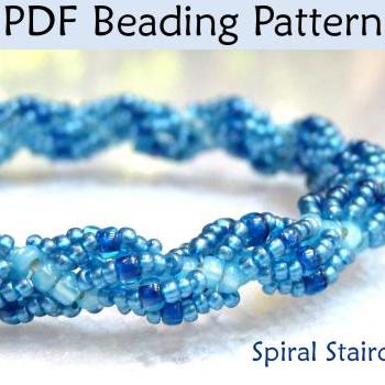 Beading Pattern Tutorial Bracelet Necklace - Spiral Stitch - Simple Bead Patterns - Spiral Staircase #290