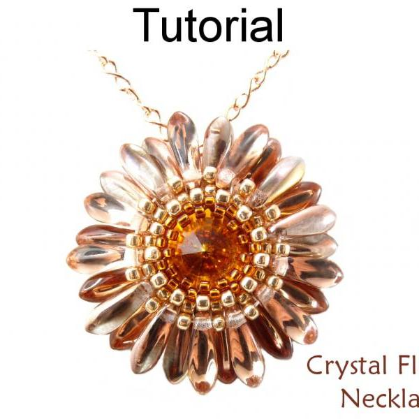 Beading Tutorial Pattern Flower Pendant Necklace - Circular Peyote - Simple Bead Patterns - Crystal Flower Necklace #466