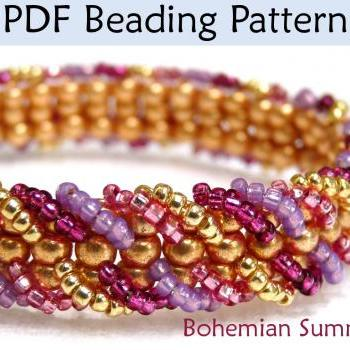 Beading Tutorial Pattern Bracelet - Embellished Ladder Stitch - Simple Bead Patterns - Bohemian Summer #1111