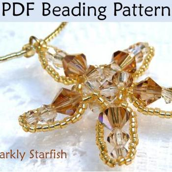 Beading Tutorial Pattern Pendant - Ocean Sea Jewelry - Simple Bead Patterns - Sparkly Starfish #313