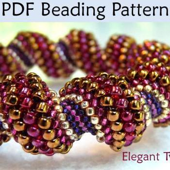 Beading Tutorial Pattern Bracelet Necklace - Cellini Spiral Tubular Peyote Stitch - Simple Bead Patterns - Elegant Twist #438