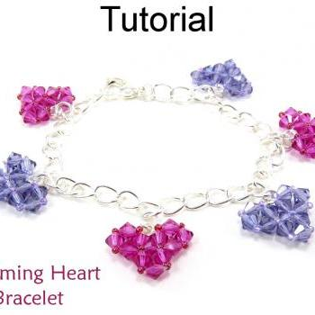 Beading Tutorial Pattern Bracelet - Valentines Heart Jewelry - Simple Bead Patterns - Charming Heart Bracelet #4611