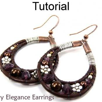 Beading Pattern Tutorial Earrings - Beaded Leather Jewelry - Simple Bead Patterns - Earthy Elegance Earrings #4778