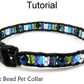 Beading Tutorial Pattern - Beaded Dog Cat Pet Collar - Simple Bead Patterns - Mix Bead Pet Collar #6397