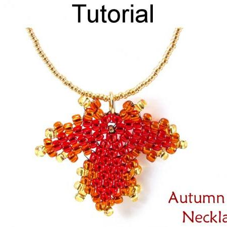Leaf Necklace Jewelry Making Tutorial Beading Pattern Maple Leaves Diagonal Peyote Fall Autumn Seasonal Jewelry Beaded Leaves #10160