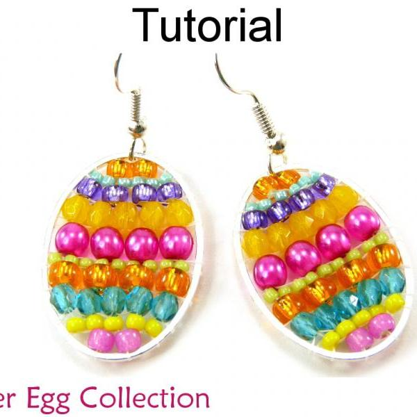 Beading Pattern Tutorial - Colorful Beaded Brick Stitch - Simple Bead Patterns - Easter Egg Necklace Earrings Bracelet #13348