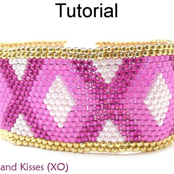 Beading Tutorial Pattern Bracelet - Valentines Love Beaded Peyote Stitch Bracelet - Simple Bead Patterns - Hugs and Kisses (X0) #17708